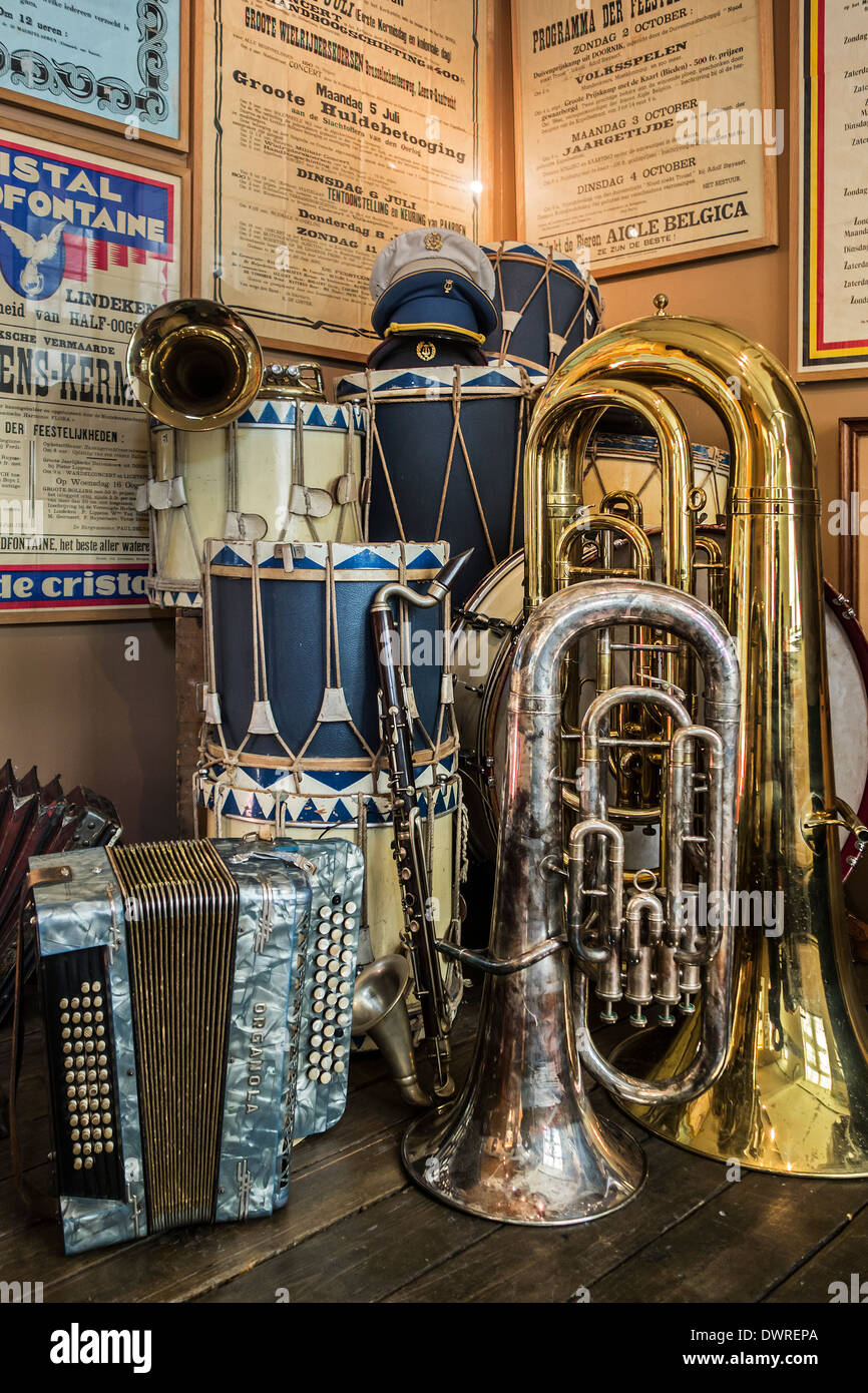 Musical instruments of Belgian fanfare orchestra / brass band at the House of Alijn museum, Ghent, Belgium - Stock Image
