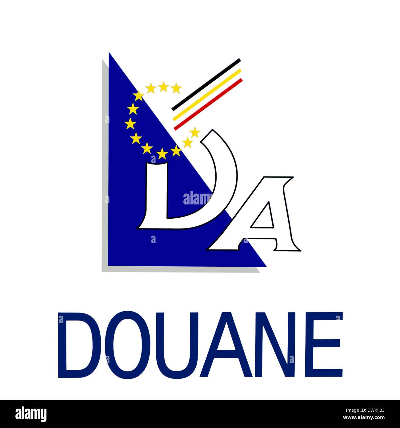 Logo of the douane, Belgian customs duty in Belgium - Stock Image
