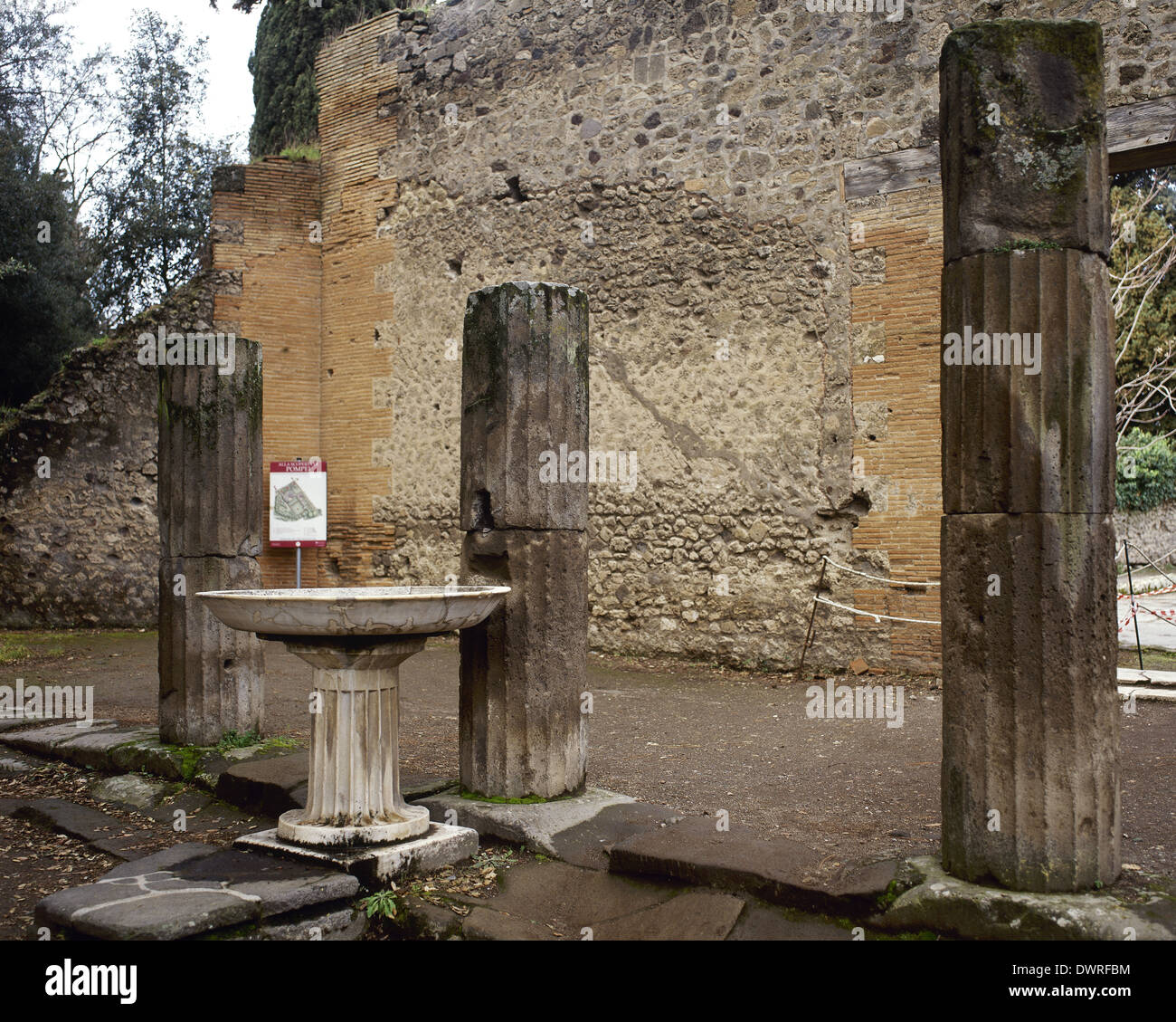 Italy. Pompeii. Triangular Forum. Fluted columns inside the square, Doric style. - Stock Image