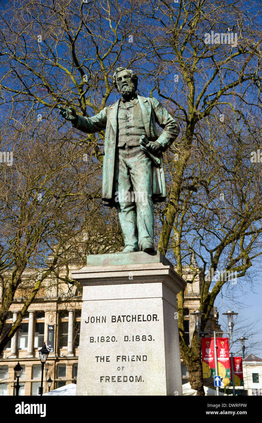 Statue of John Batchelor business man and Liberal politician, The Hayes, Cardiff, Wales. - Stock Image