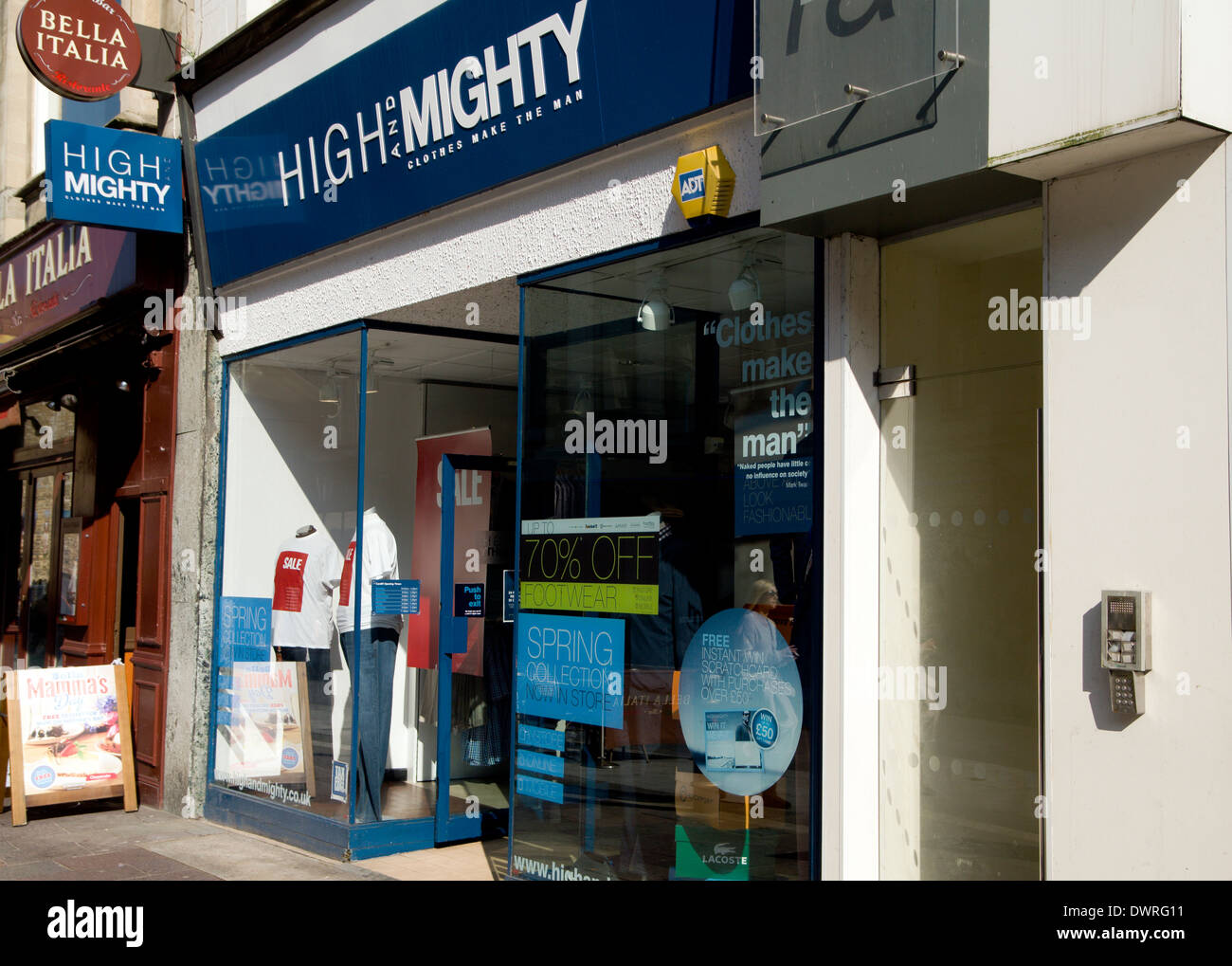 High & Mighty clothing shop for the larger man, High Street, Cardiff, Wales. - Stock Image