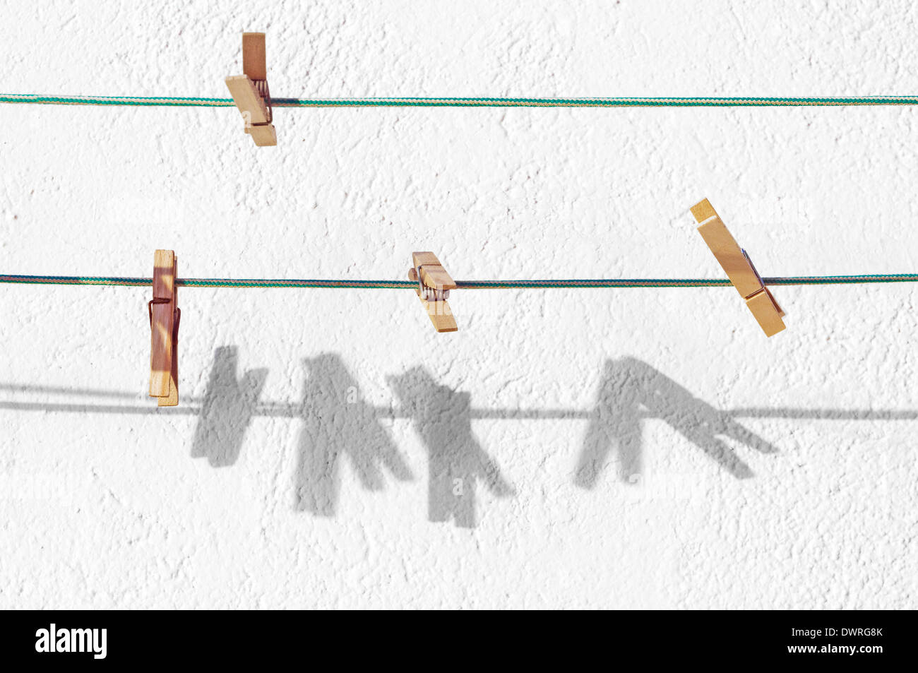 peg for clothes hanging on rope - Stock Image