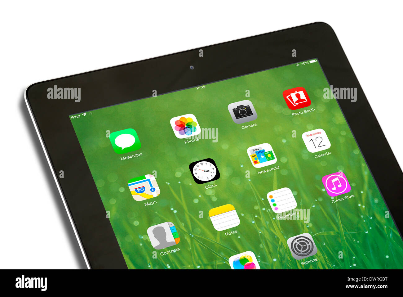 iOS 7.1 home screen on an Apple iPad 4th generation retina display tablet computer - Stock Image