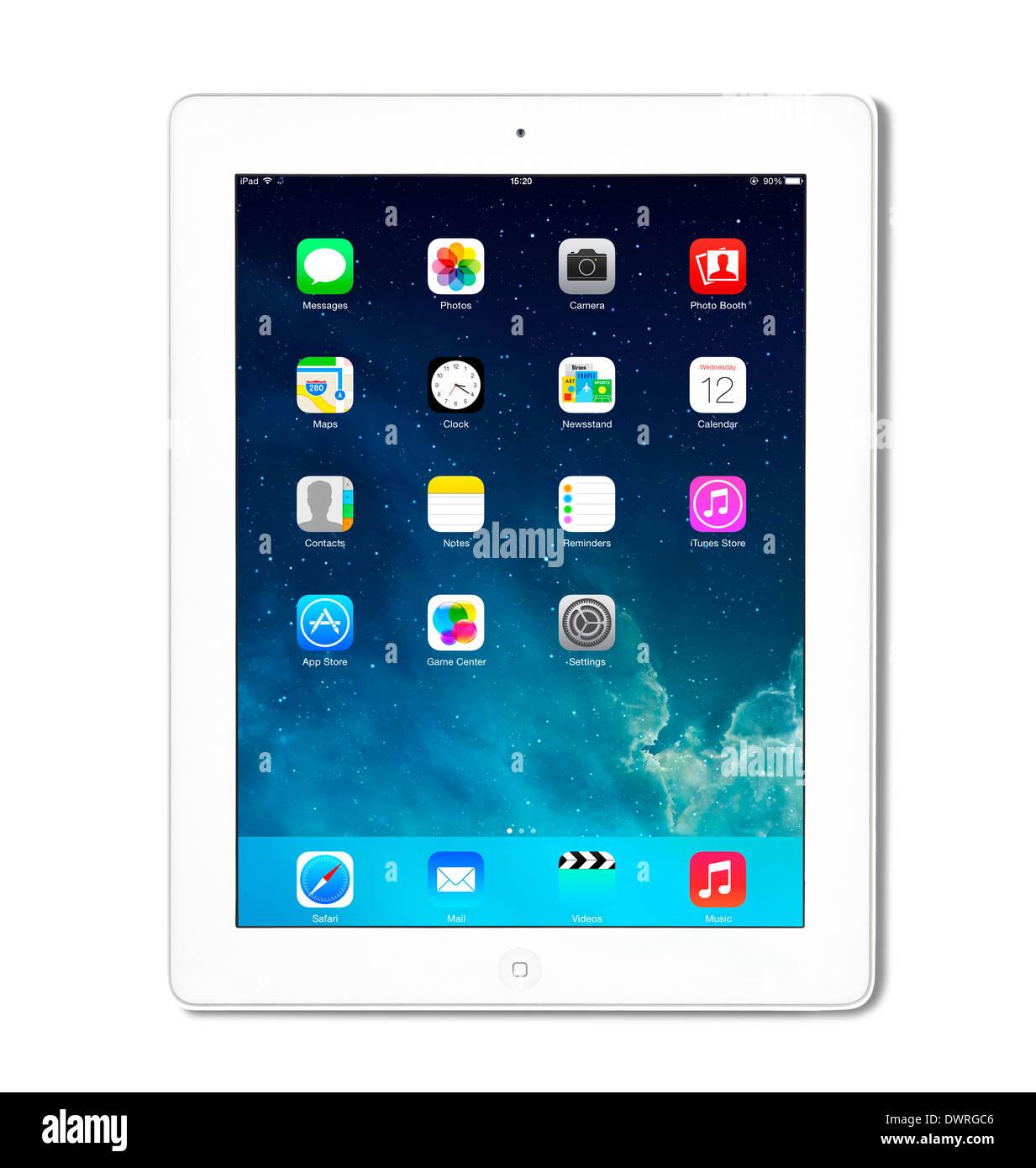 iOS 7.1 home screen on an Apple iPad 4th generation retina display tablet computer - Stock Image