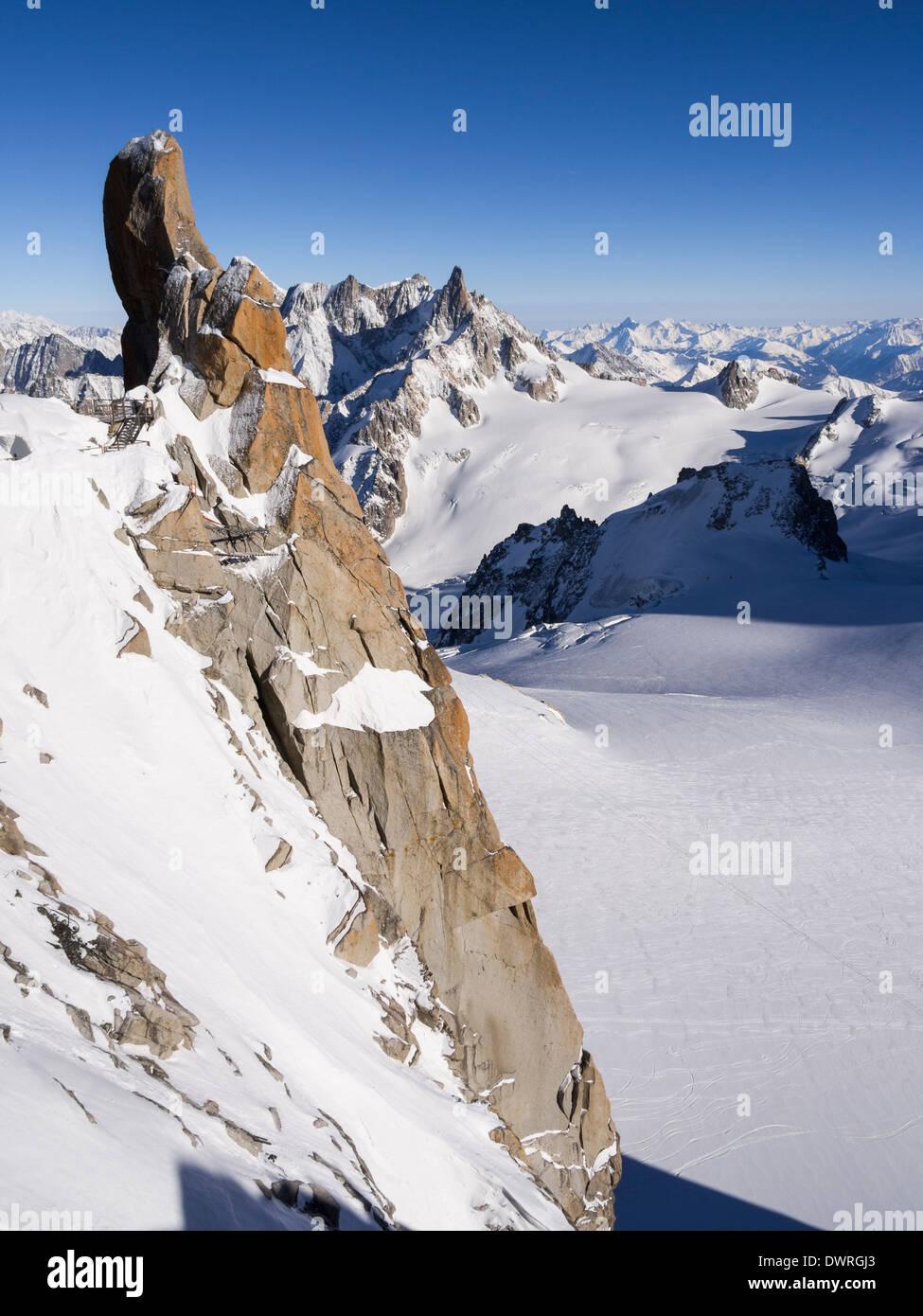 Le Piton Sud rock spur on Aiguille du Midi in Mont Blanc Massif. Chamonix-Mont-Blanc, Haute Savoie, Rhone-Alpes, France, Europe - Stock Image
