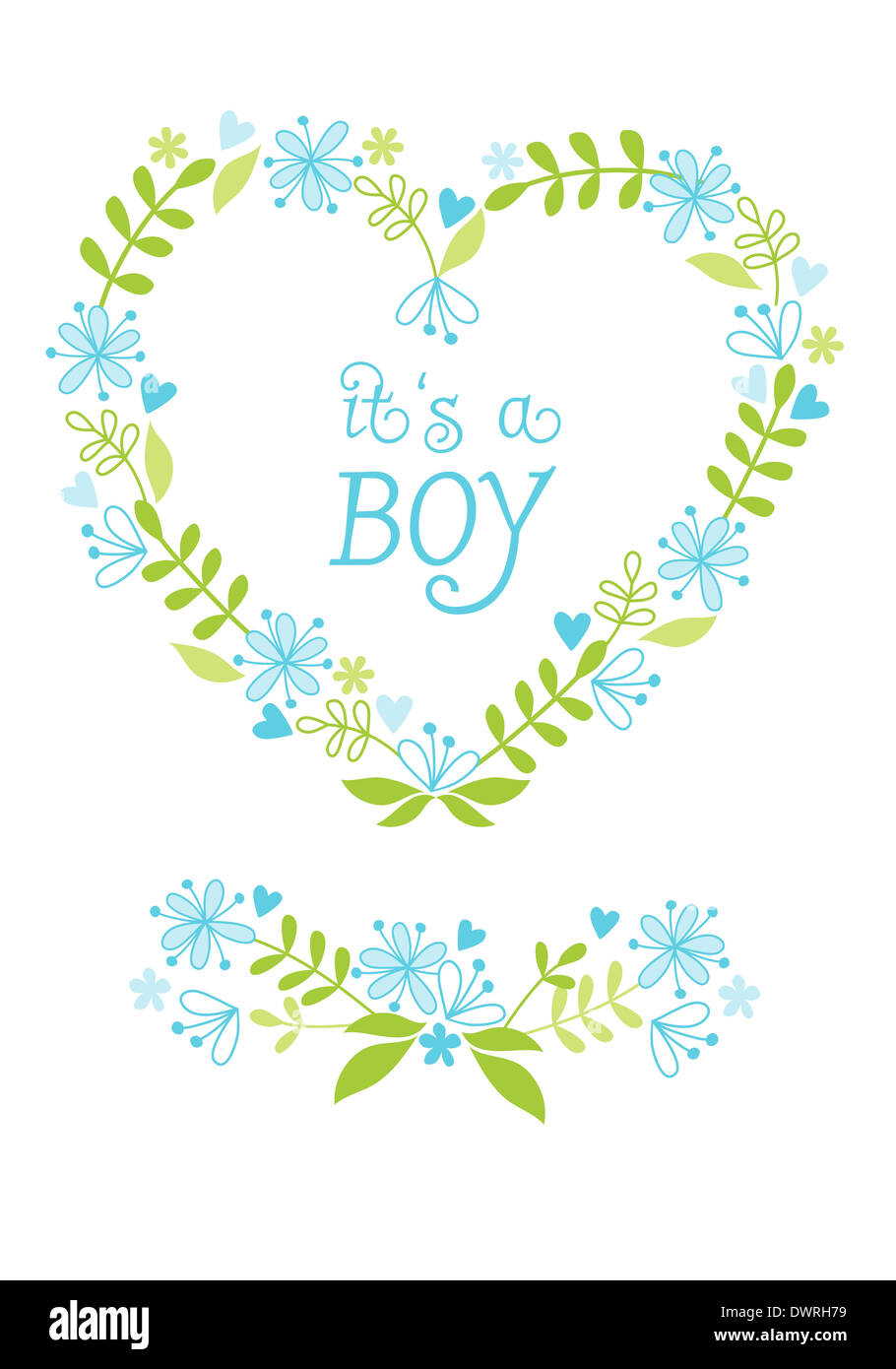 Baby Boy Blue Green Heart Flower Frame Floral Stock Photos & Baby ...
