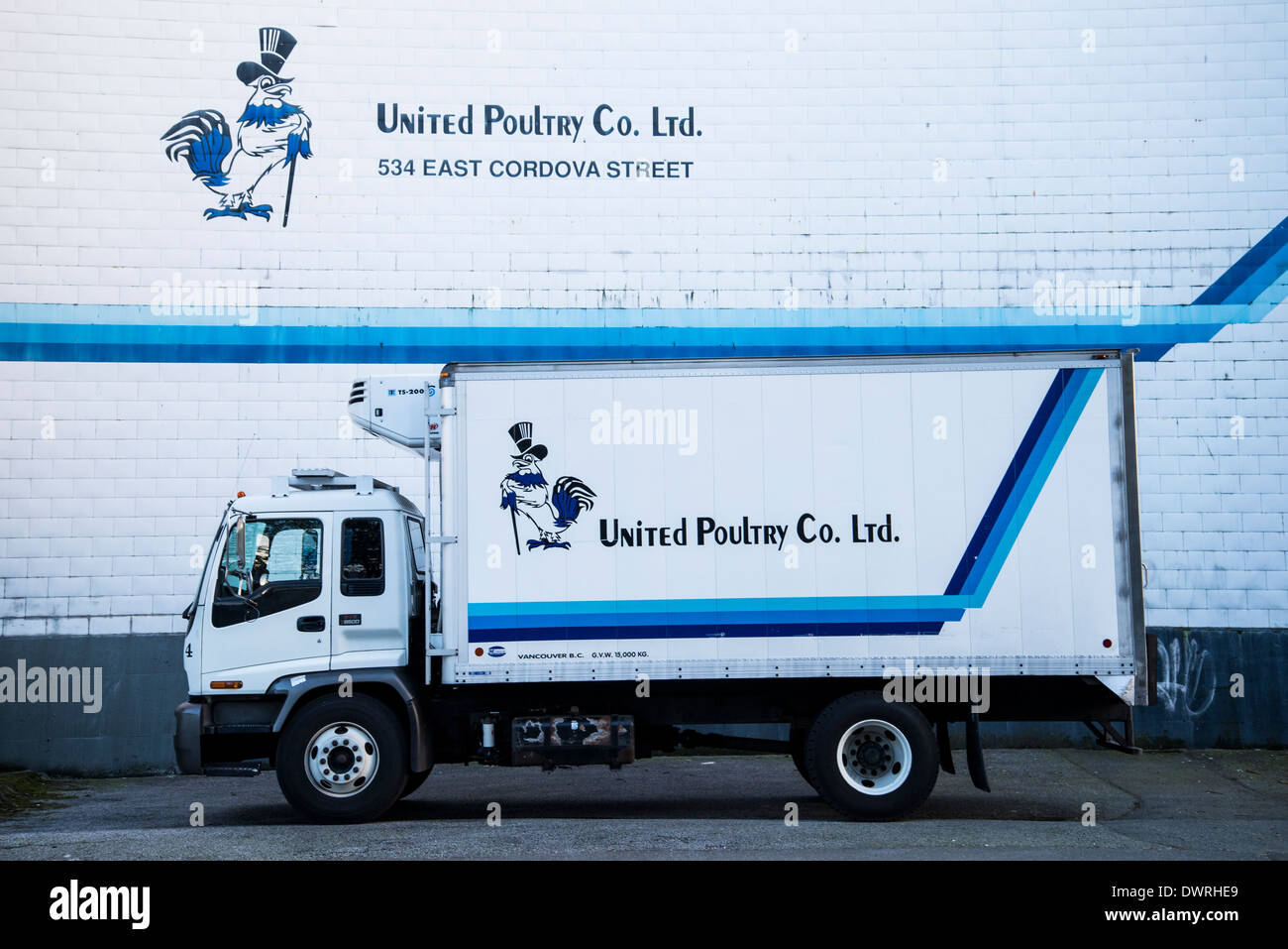 United Poultry truck, Vancouver, British Columbia, Canada - Stock Image