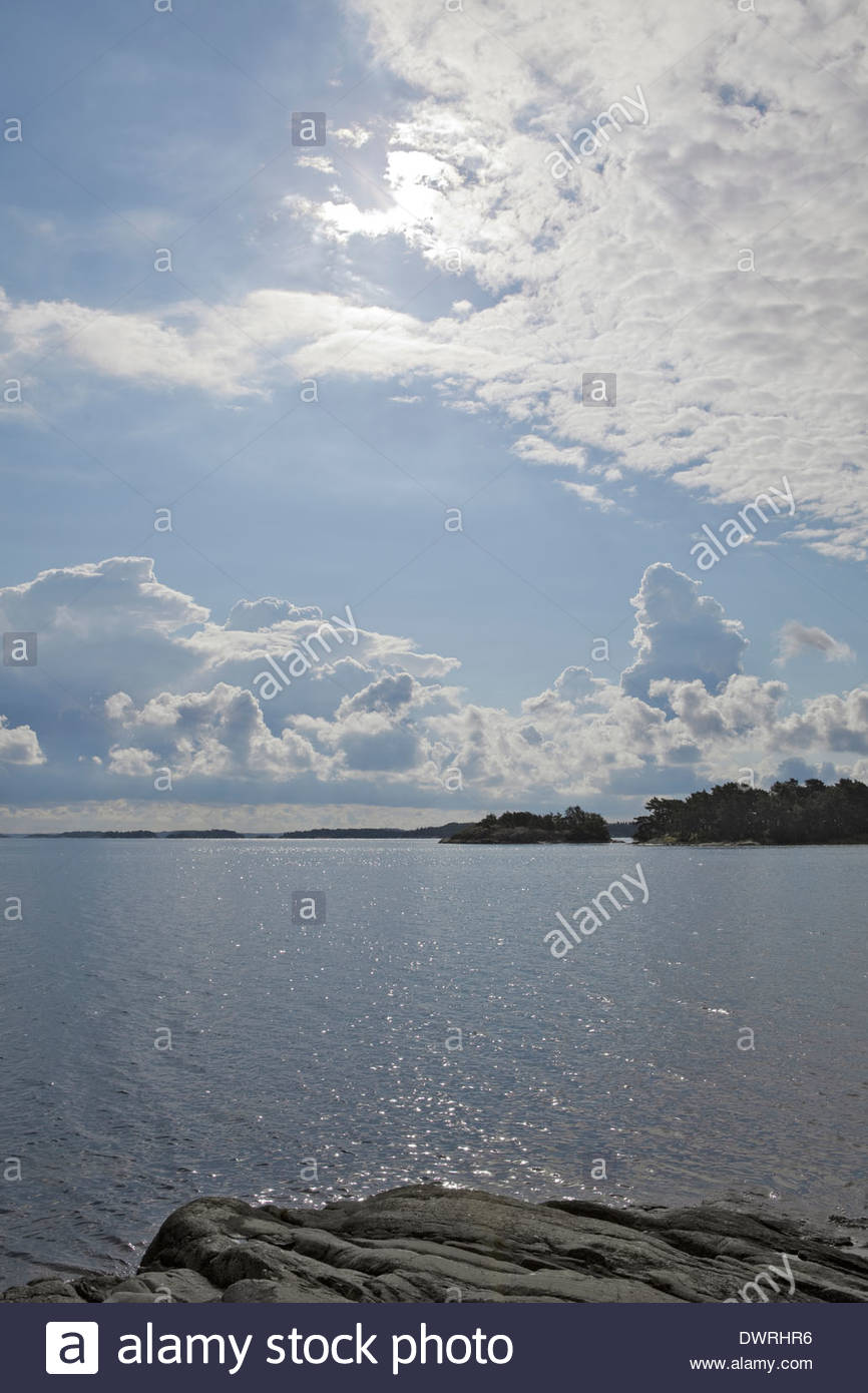 Rocky shore by the Baltic Sea - Stock Image