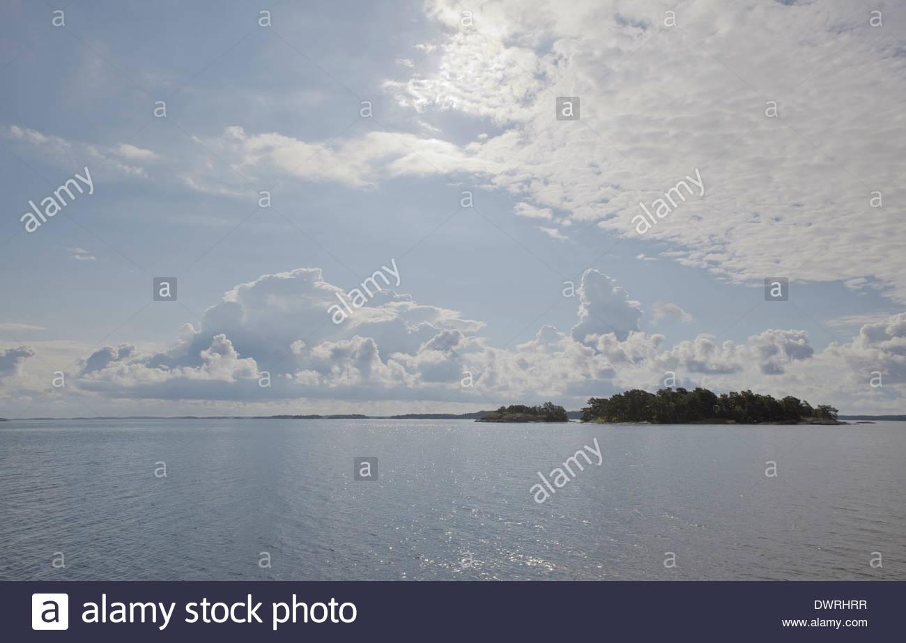 Blue summer day in Finnish archipelago - Stock Image