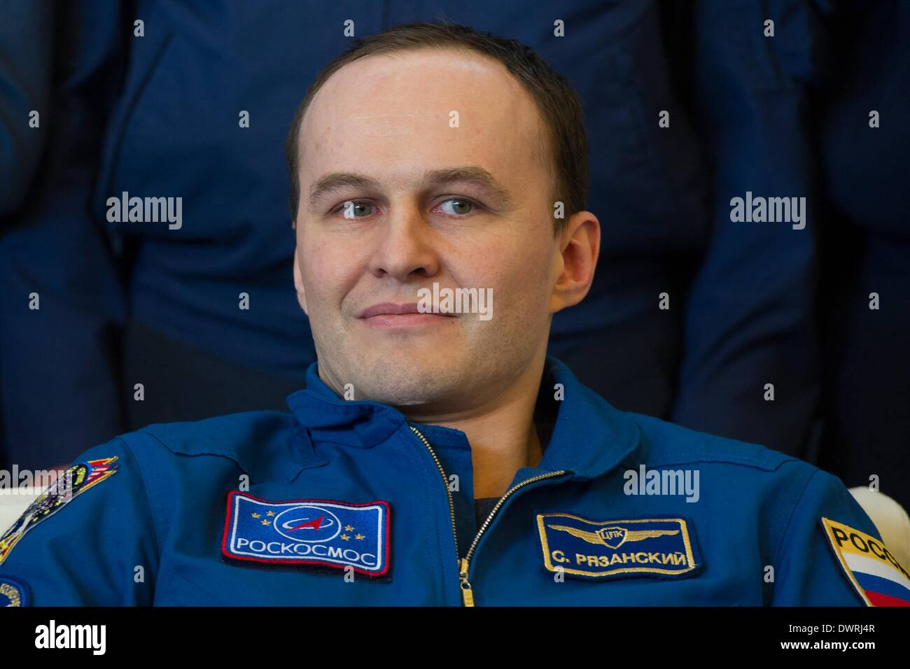 Karaganda airport, Kazakhstan. 11th March, 2014. International Space State Expedition 38 cosmonaut Sergey Ryazanskiy of the Russian Federal Space Agency during a welcoming ceremony after landing in a Soyuz TMA-10M spacecraft March 11, 2014 held at the Karaganda airport, Kazakhstan. Hopkins, Kotov and Ryazanskiy returned to Earth after five and a half months onboard the International Space Station. Credit:  Planetpix/Alamy Live News - Stock Image