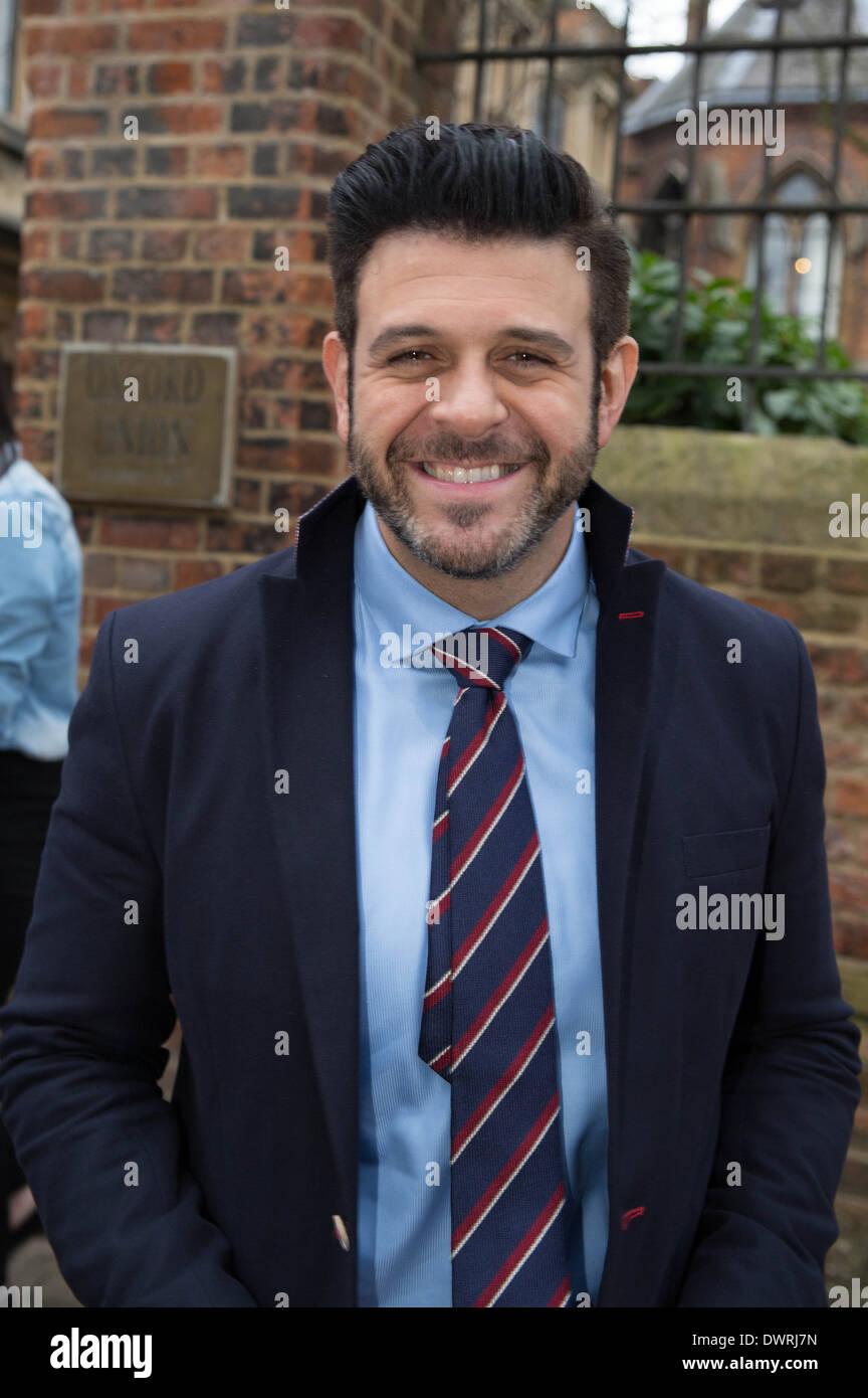 Adam Richman of Man Vs Food presenter leaving Oxford union after his talk. Stock Photo
