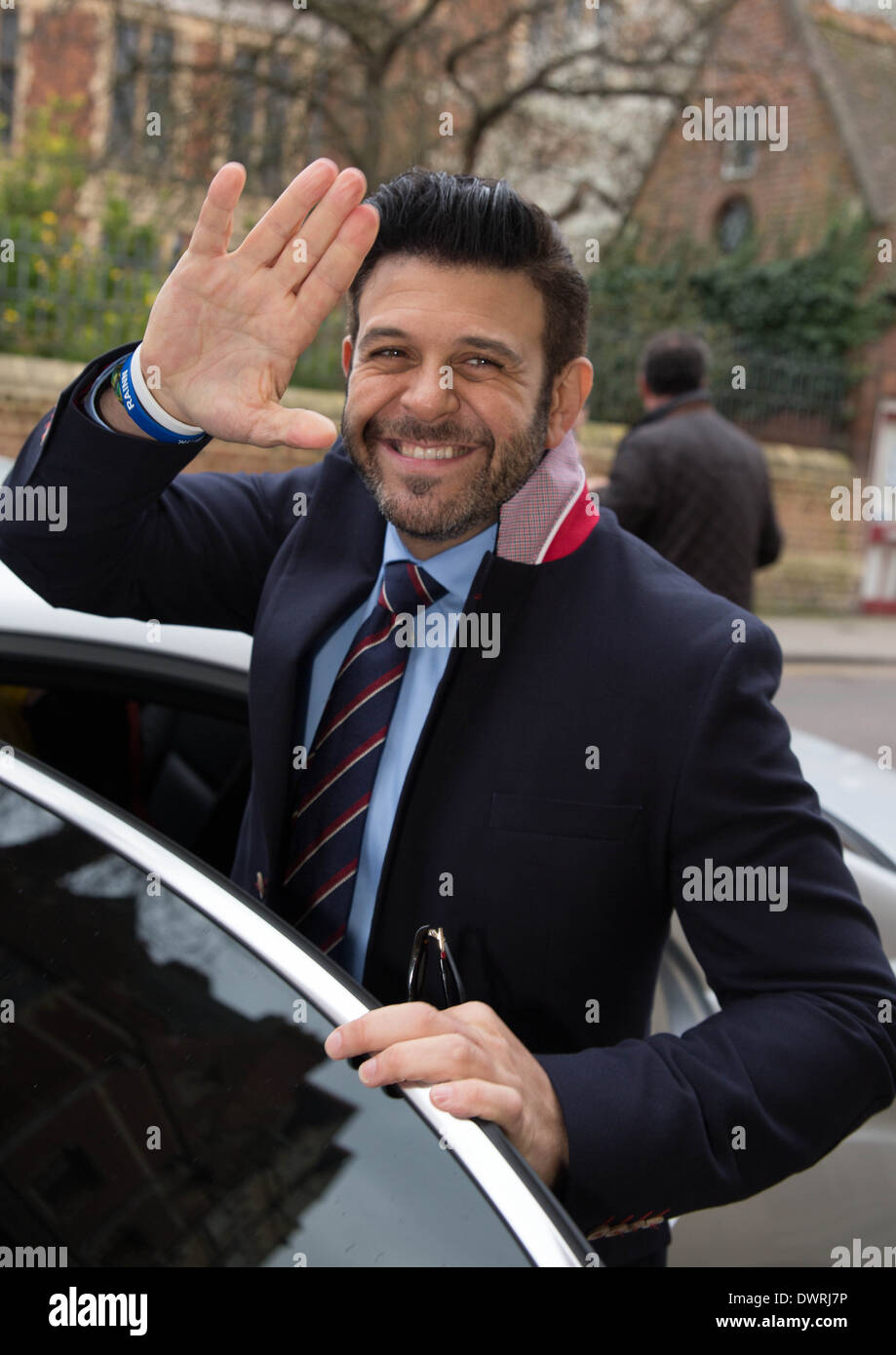 Adam Richman of Man Vs Food presenter leaving Oxford union after his talk. - Stock Image