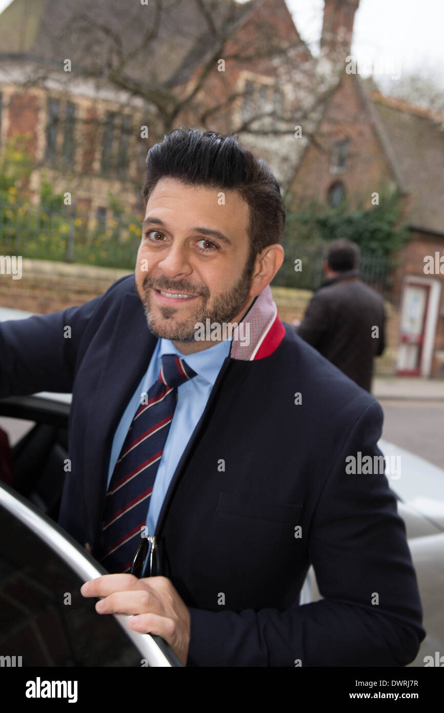 Adam Richman of Man Vs Food presenter leaving Oxford union after his talk. Stock Photo