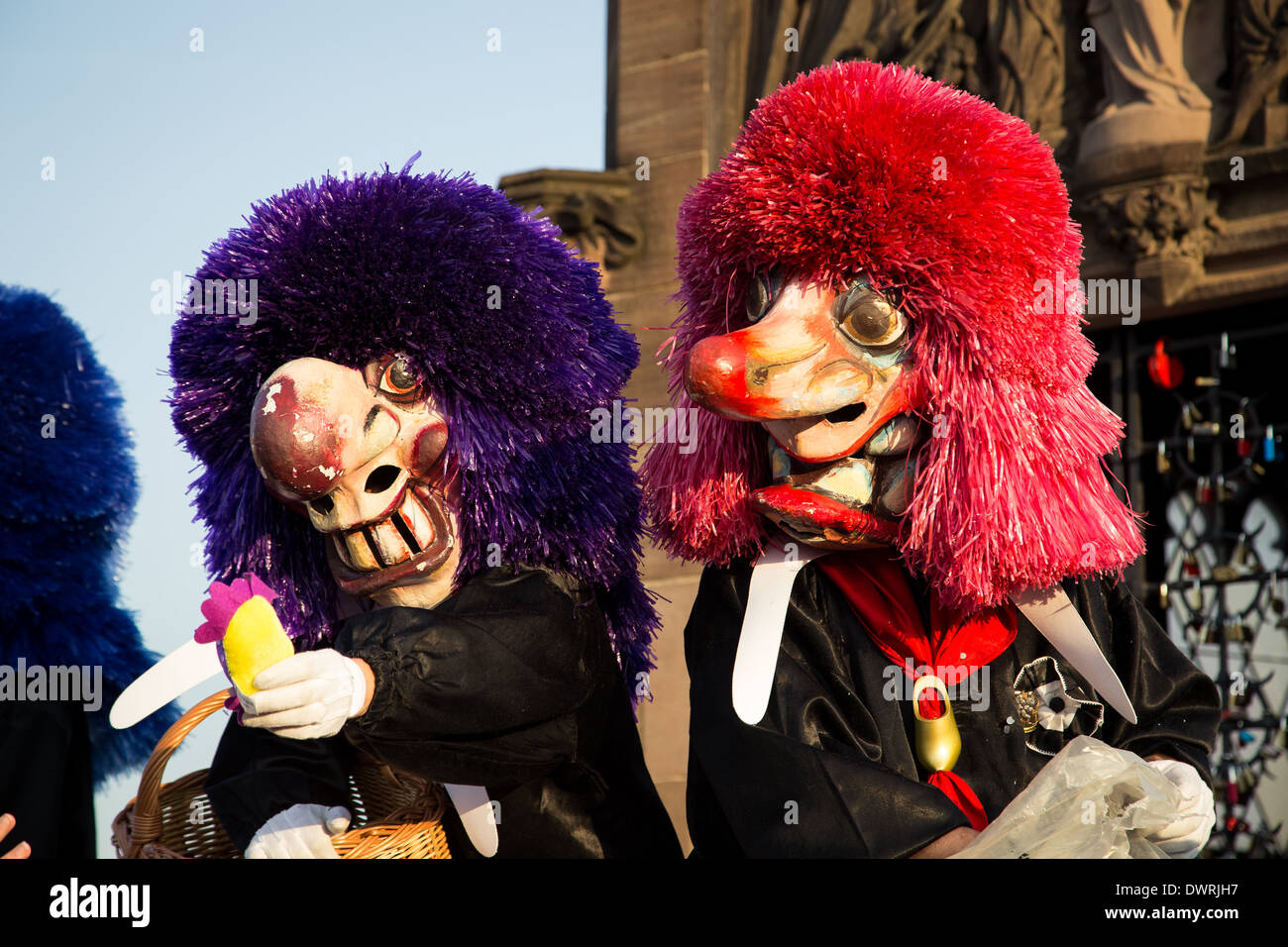Two Waggis at the parade of the Basler Fasnacht in Switzerland. - Stock Image