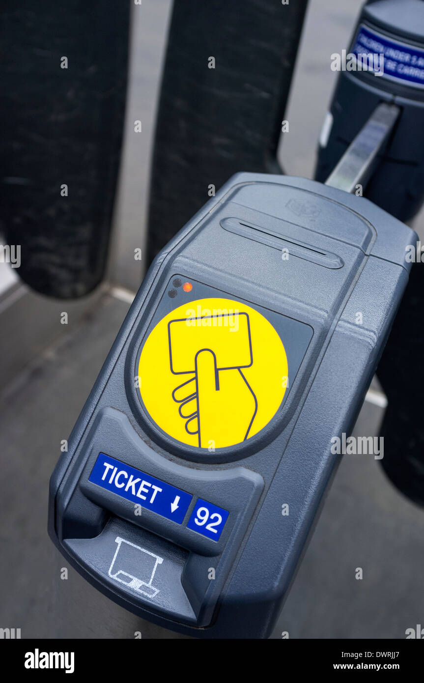 Close up of a ticket reader used at access gates for Scotrail and other rail operators, Glasgow, Scotland, Great Britain - Stock Image