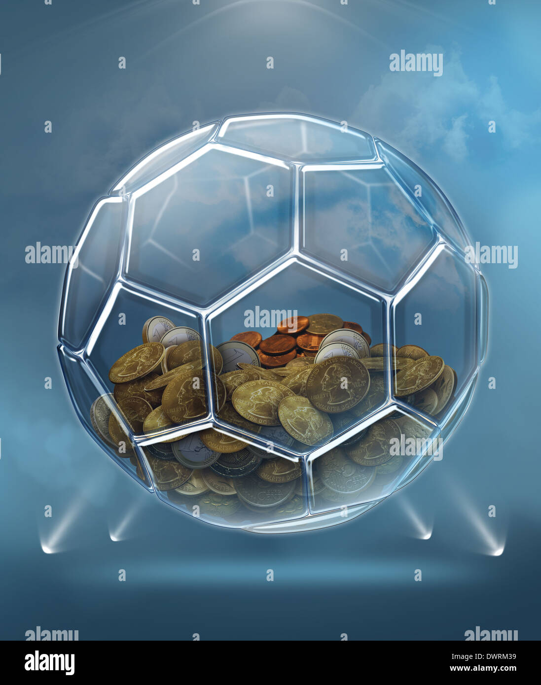 Illustration of coins inside transparent ball representing savings for soccer career - Stock Image