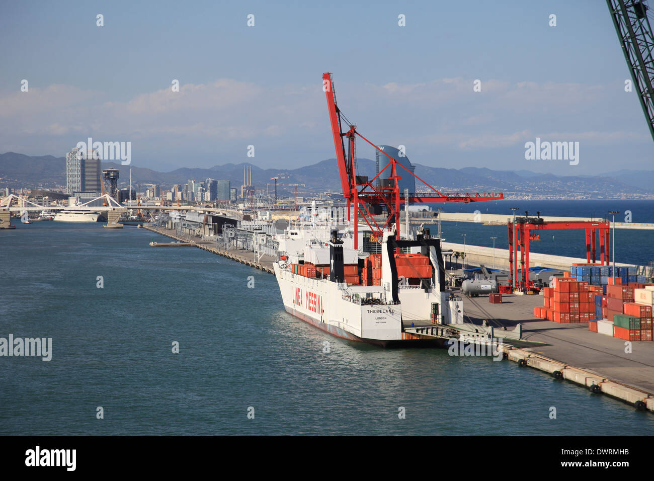 Ro-Ro container ship mv Thebeland berthed at Barcelona harbor Spain - Stock Image