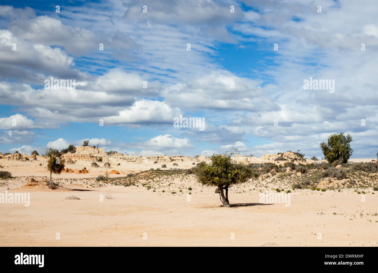 Lake Mungo is former inland lake now covered in strange formations. - Stock Image