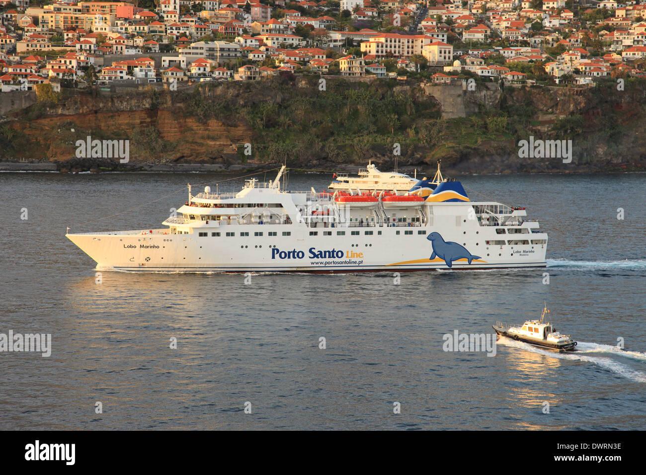 Porto Santo Line ferry mv Lobo Marinho entering Funchal harbor Madeira - Stock Image