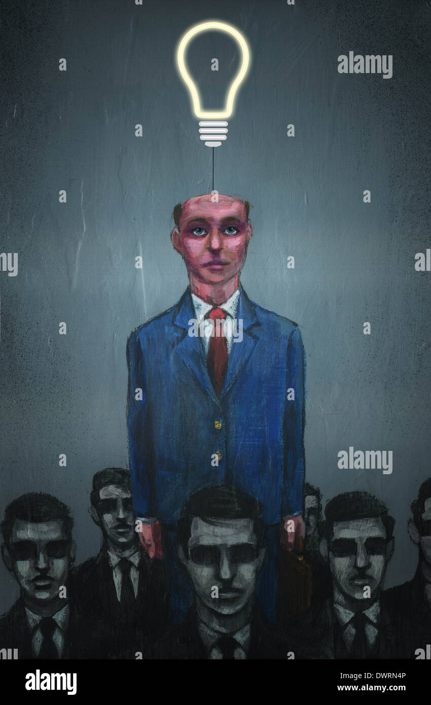 Illustrative image of businessman with electric bulb coming out from head representing individuality - Stock Image