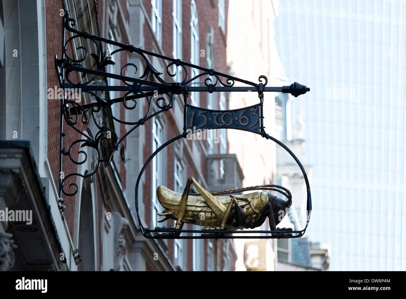 The Gresham grasshopper on Lombard Street, London, UK - Stock Image
