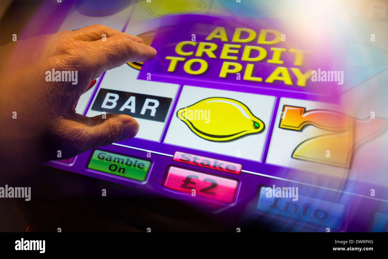 Fixed odds gaming machine in Bookmakers. UK Stock Photo