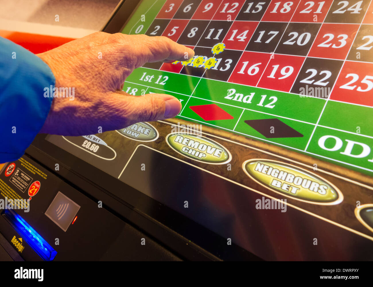 Fixed odds roulette machine (FOBT fixed odds betting terminal) in Bookmakers. UK - Stock Image