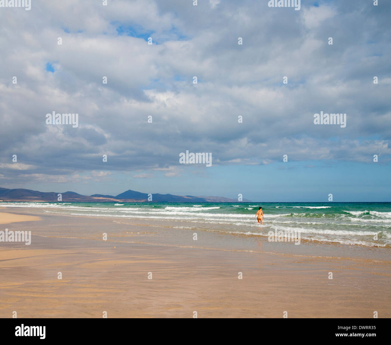 Nude Woman In Sea On Sotavento Beach Jandia Fuerteventura Canary Islands Spain