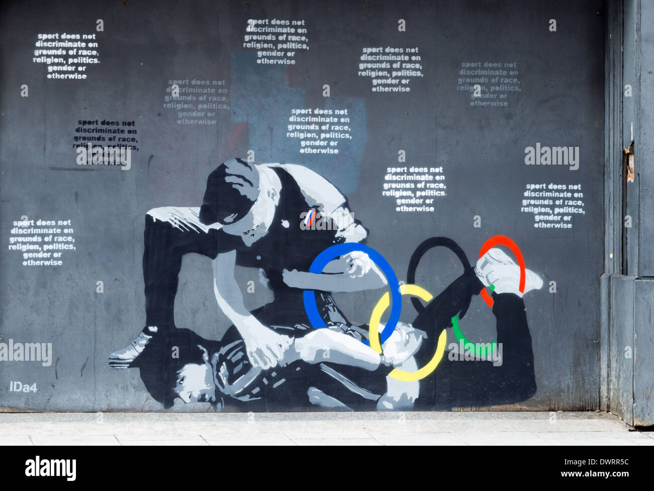 Gay protester/Sochi winter Olympics mural in Newcastle upon Tyne. UK - Stock Image