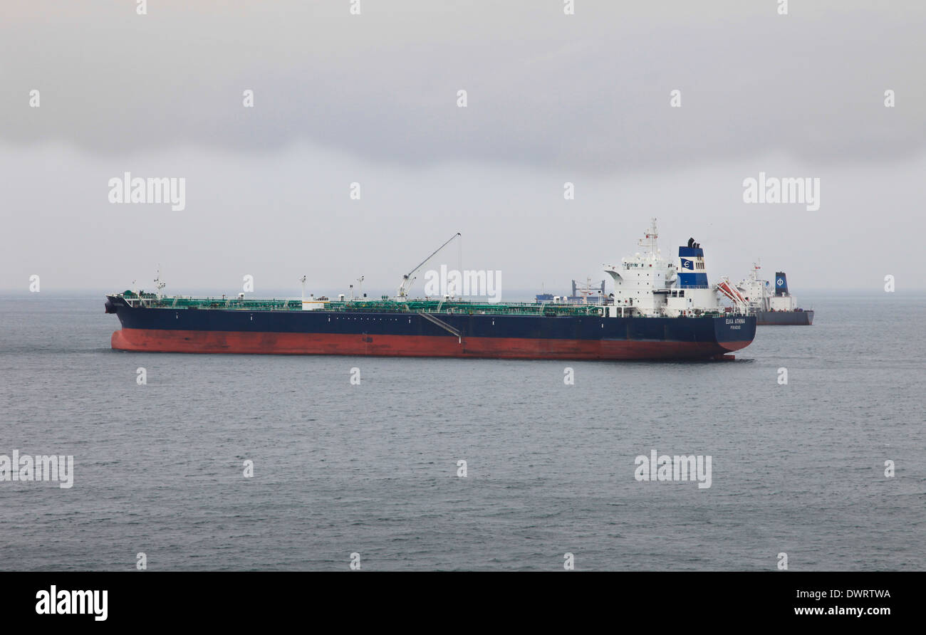 oil tanker mv Elka Athina anchored in Gibraltar harbor - Stock Image