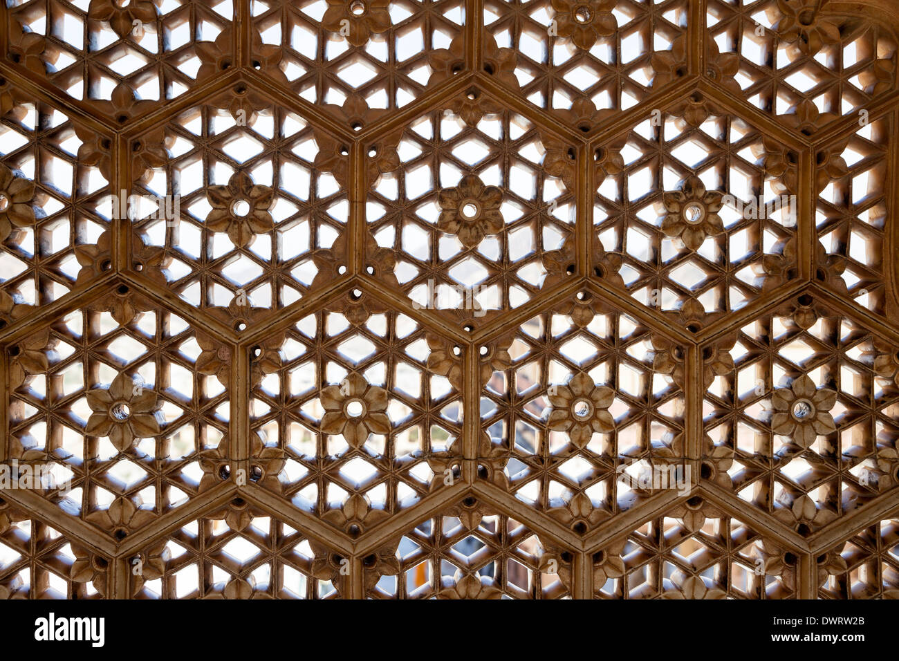 Jaipur, Rajasthan, India. Hexagons and Diamond Shapes used in Window Latticework, Amber (or Amer) Palace, near Jaipur. - Stock Image