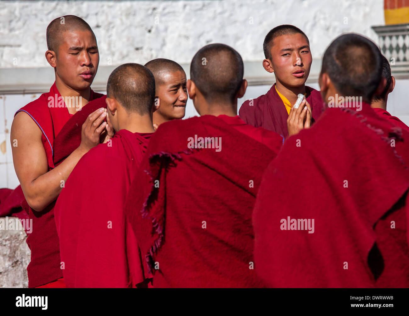 Monks praying outisde at Galden Namgey Lhatse Monastery, Tawang, Arunachal Pradesh, India Stock Photo
