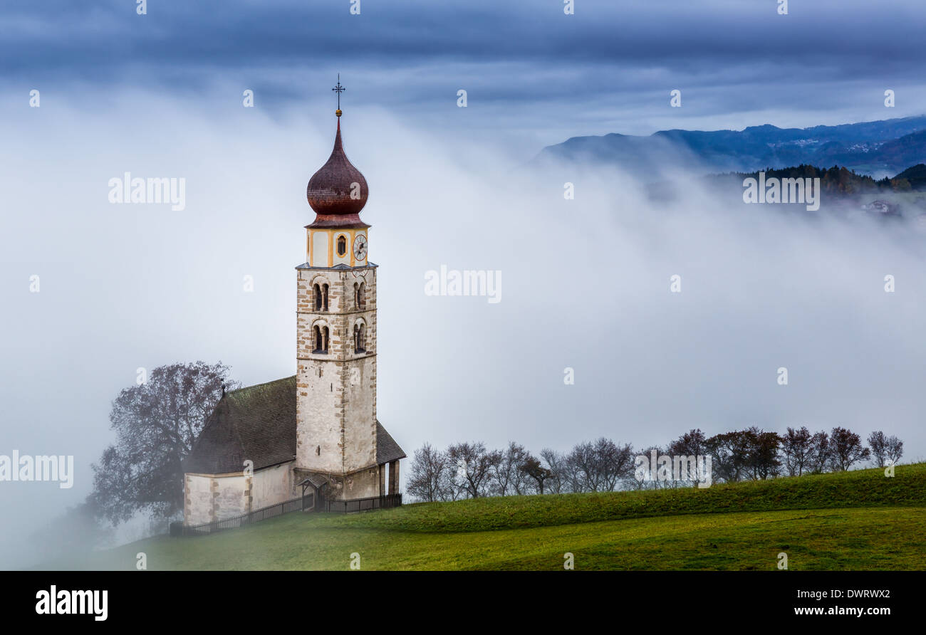 The church of St. Valentine, Seis am Schlern, Province of South Tyrol, Trentino-Alto Adige, Italy - Stock Image