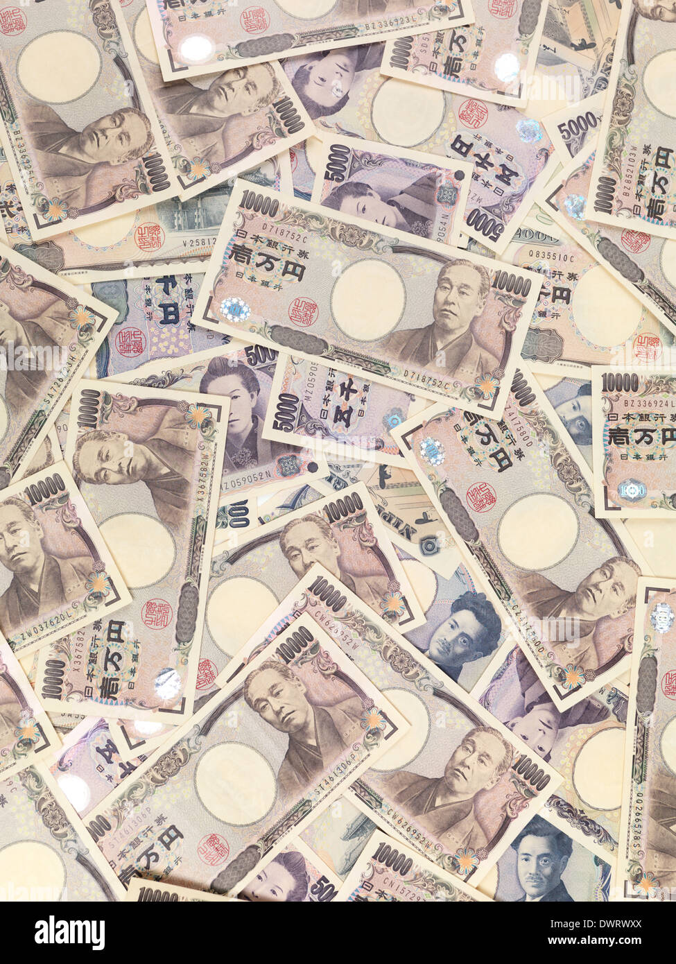 Japanese Yen money bills, closeup of currency background - Stock Image