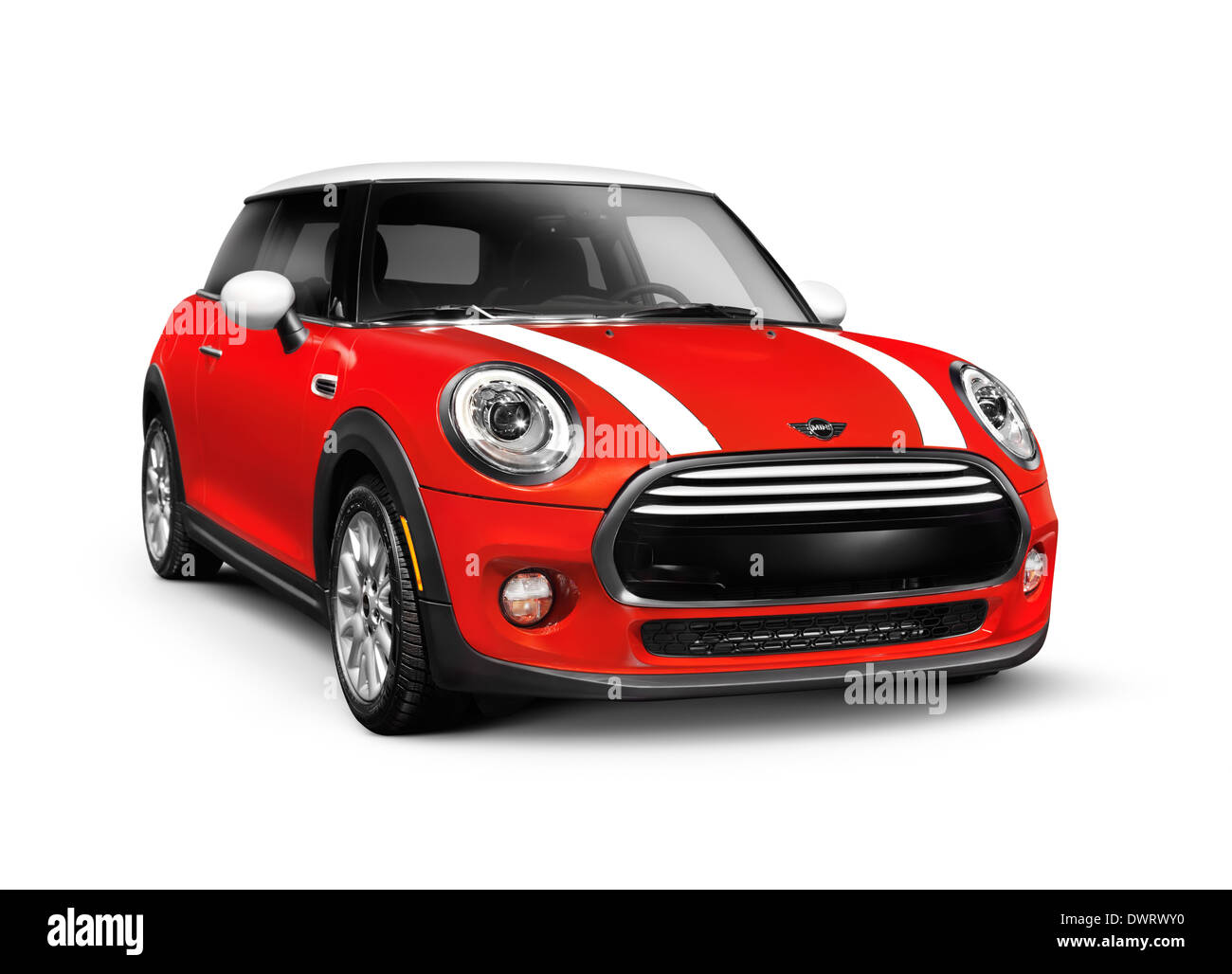 Red 2014 Mini Cooper Hardtop compact city car isolated on white background - Stock Image