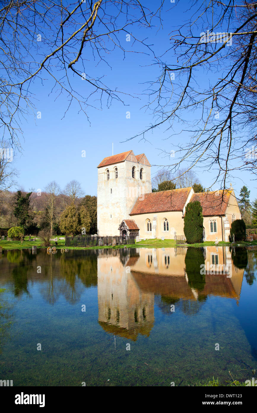 St Bartholomew Church in Fingest (with flooded graveyard in forefront) - Buckinghamshire - UK - Stock Image