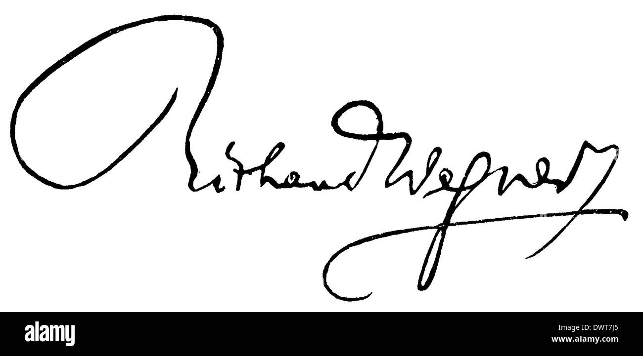 Autograph: Richard Wagner - Stock Image