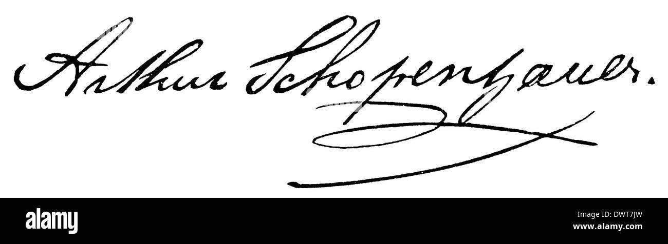 Autograph: Arthur Schopenhauer - Stock Image