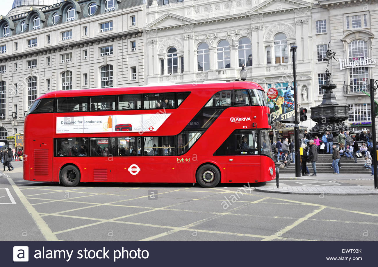 New Routemaster red double decker bus, Piccadilly Circus London UK - Stock Image