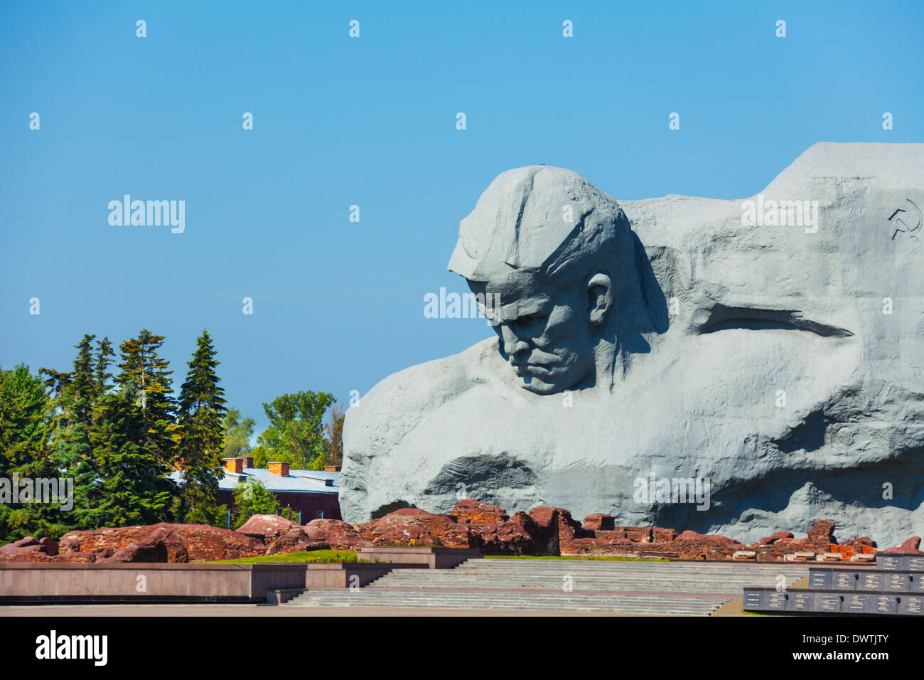 Unknown soldier monument in Brest, Belarus world war 2 first attacked in USSR - Stock Image