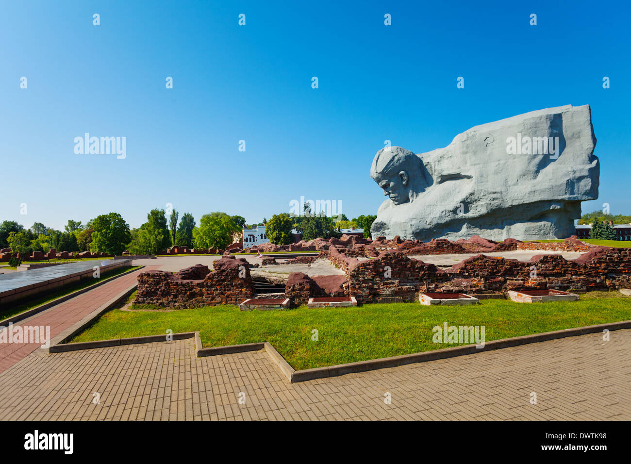 Memorial fortress and park in Brest Fortress, Belarus, world war 2 first attacked in USSR - Stock Image