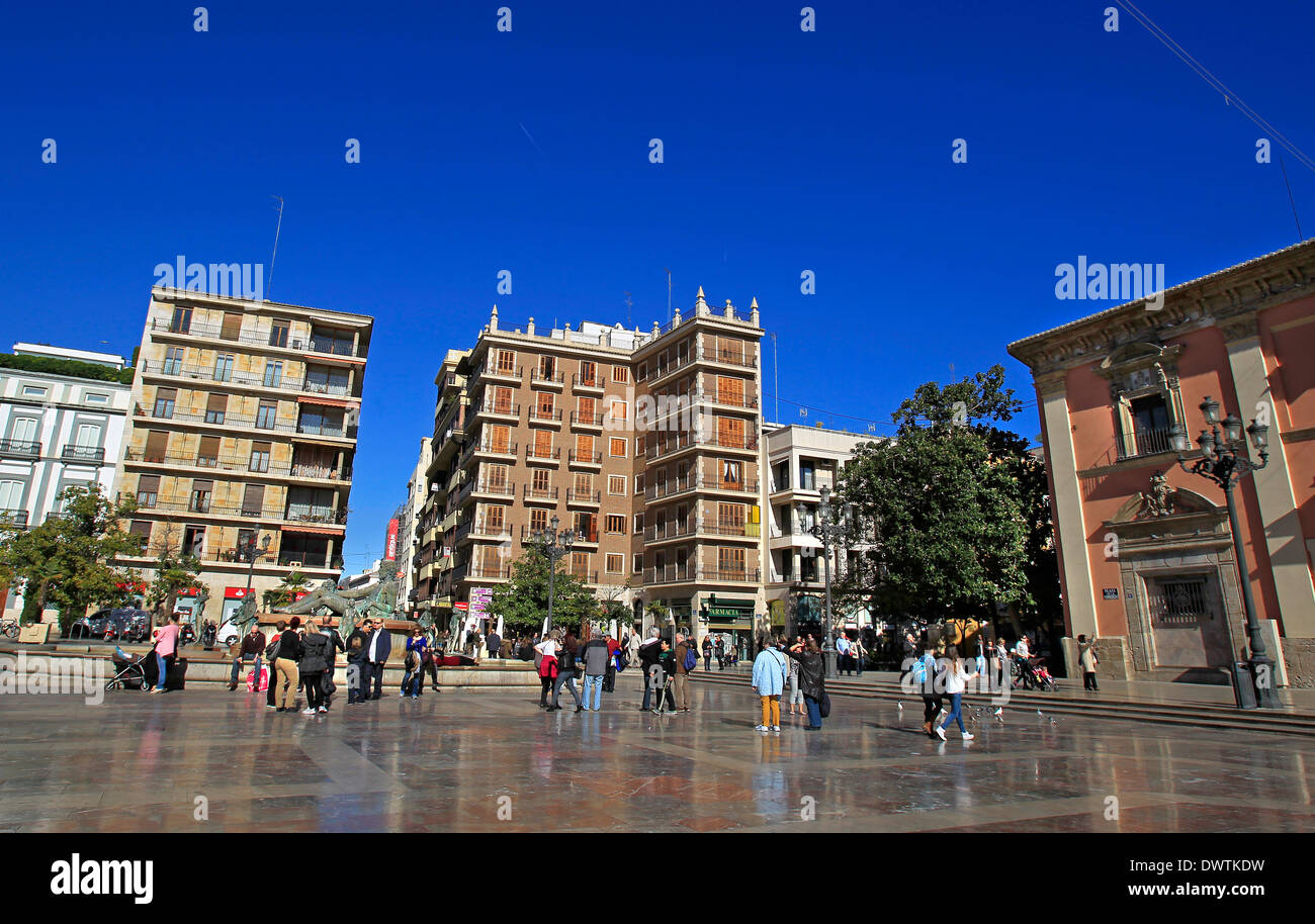 A general view of the Plaza de la Virgen on a sunny day Stock Photo