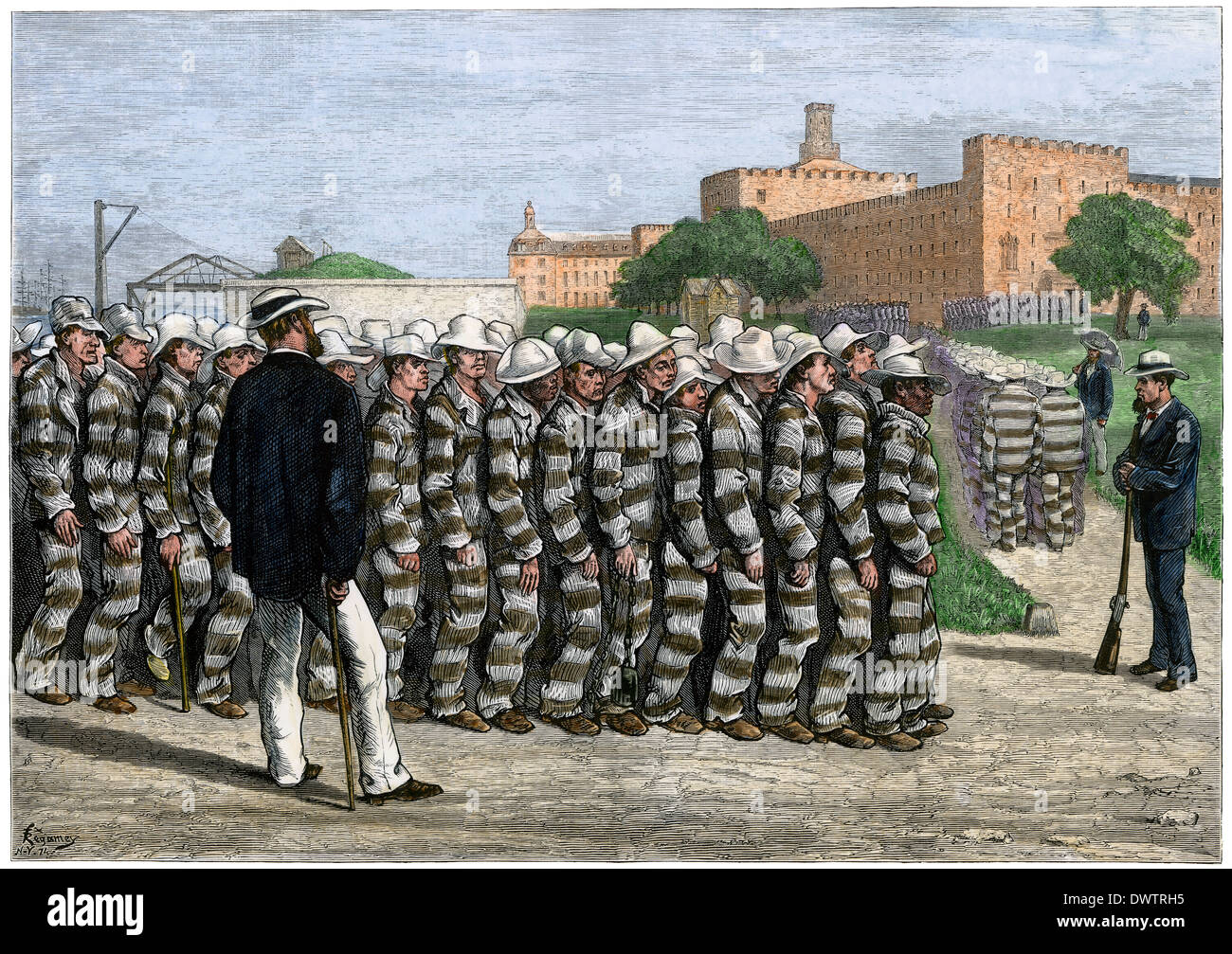 Prisoner work gang returning to Blackwell's Island penitentiary in New York harbor, 1870s. Hand-colored woodcut - Stock Image