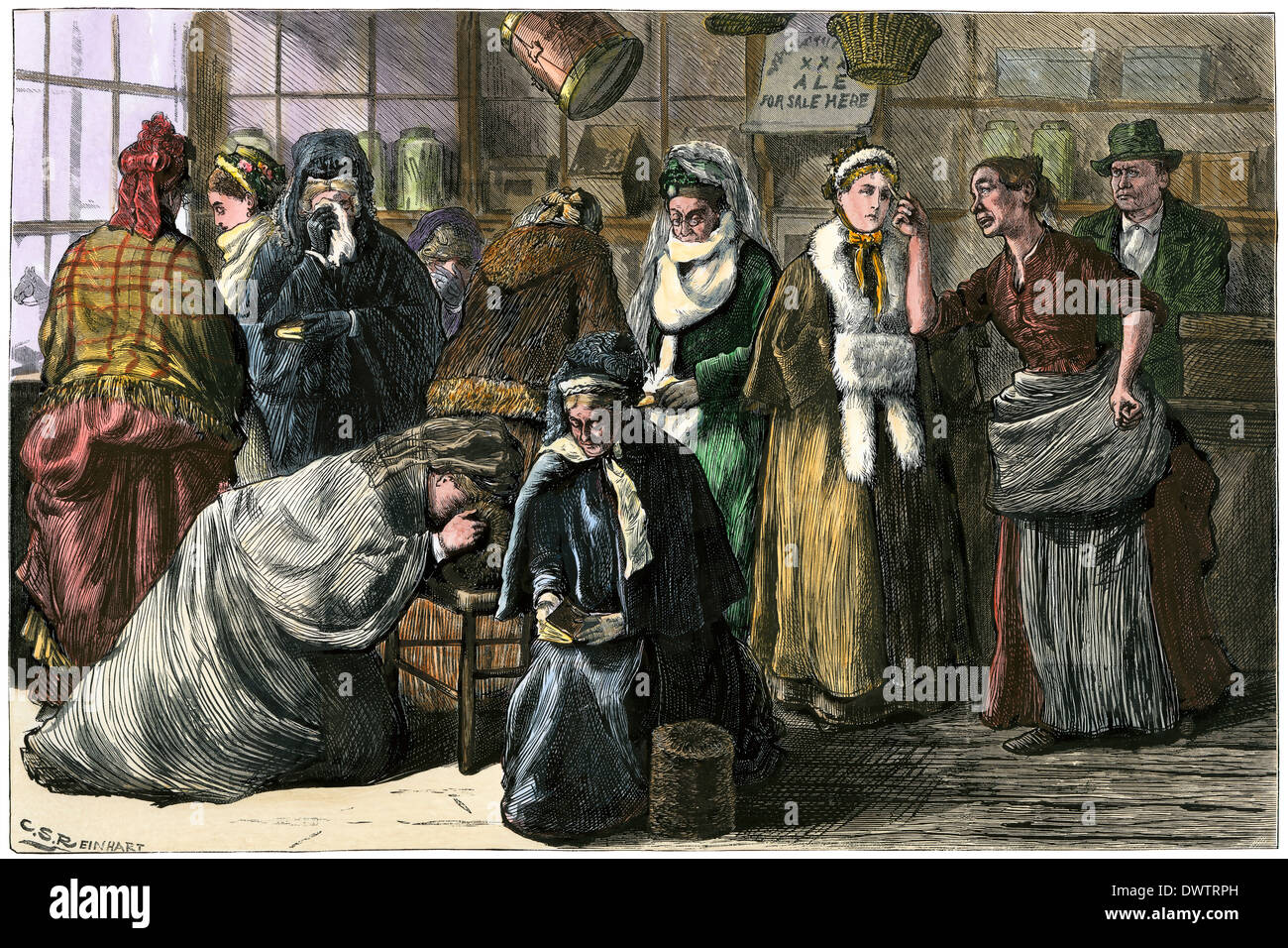 Women temperance crusaders in a saloon, 1870s. Hand-colored woodcut - Stock Image