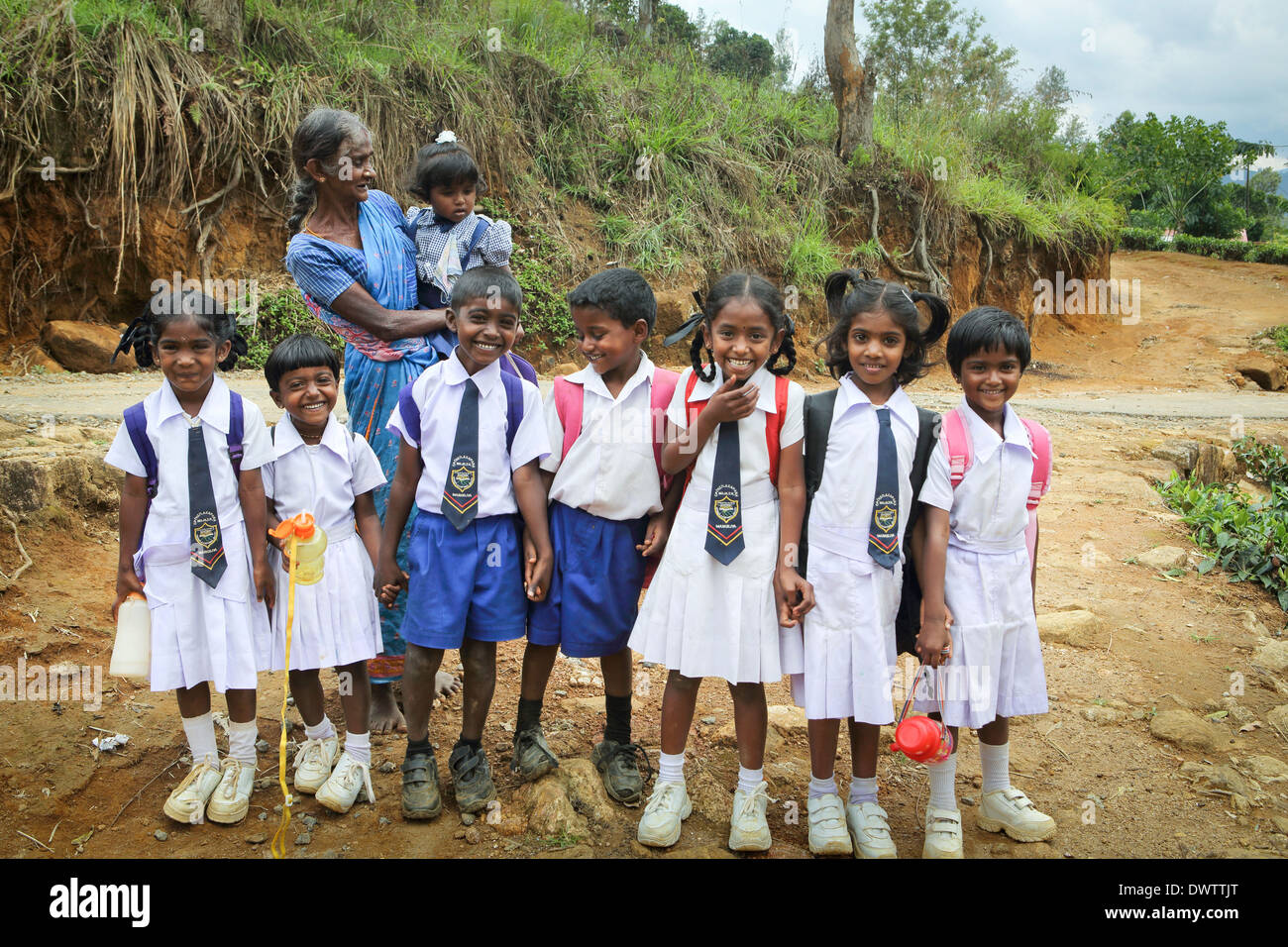 Young schoolchildren neatly dressed in uniform on their way home from school in a tea plantation community - Stock Image