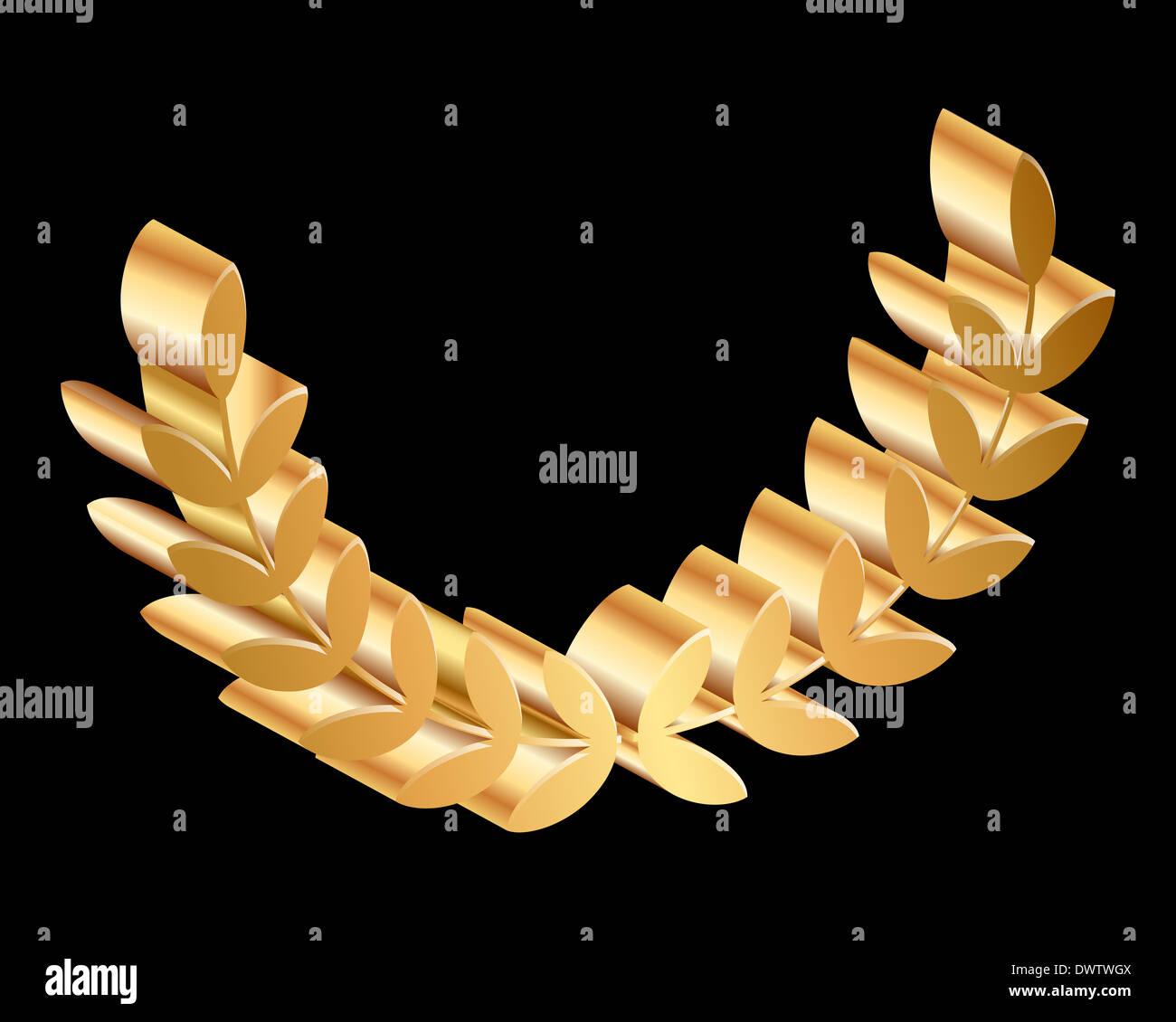 gold laurels on black background - Stock Image