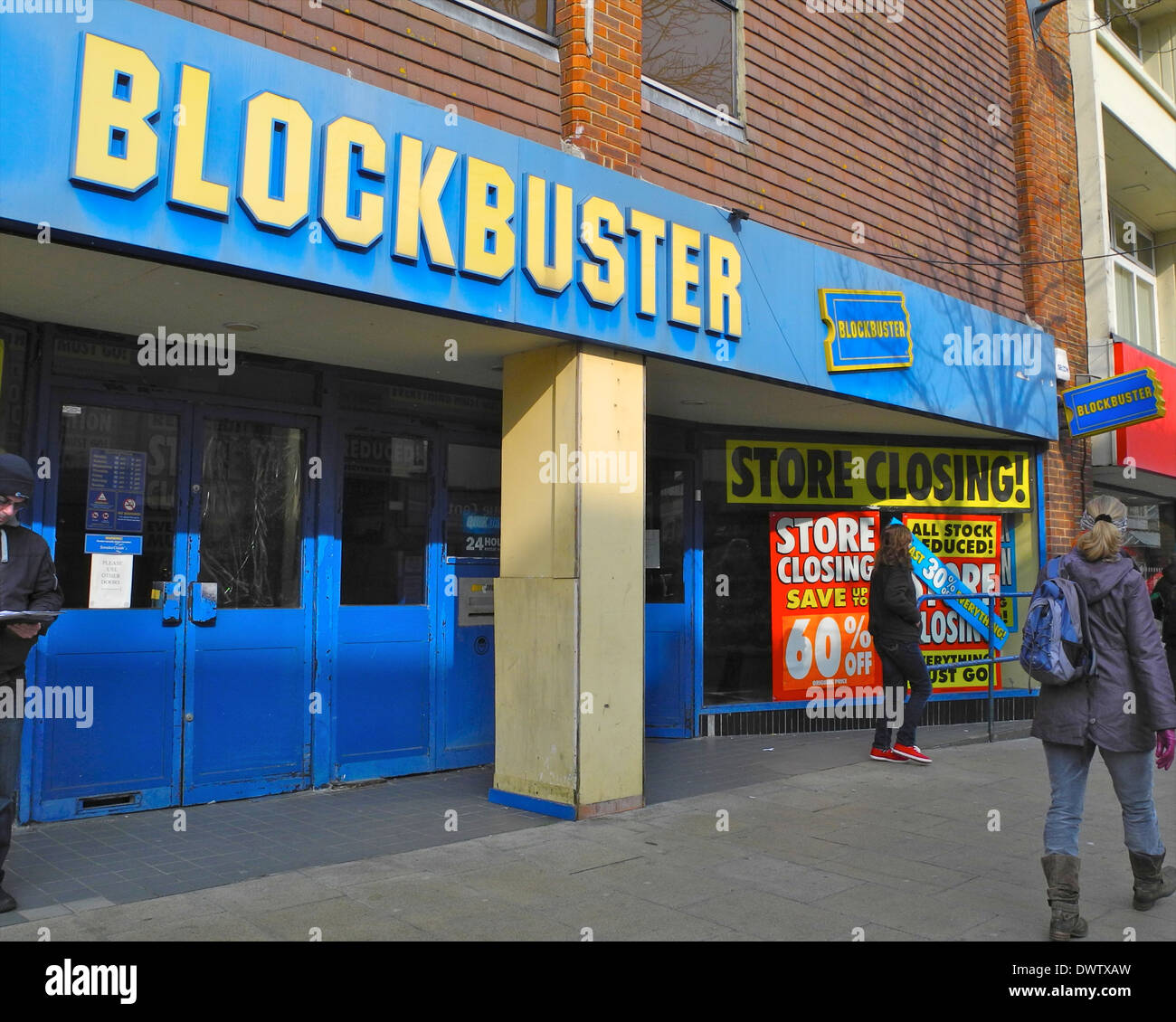 Blockbuster video store closing victim store front shopfront EDITORIAL USE ONLY in Bognor Regis - Stock Image