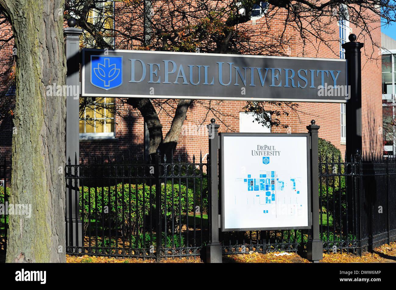 Usa Illinois Chicago Depaul University Campus And Map Stock Photo