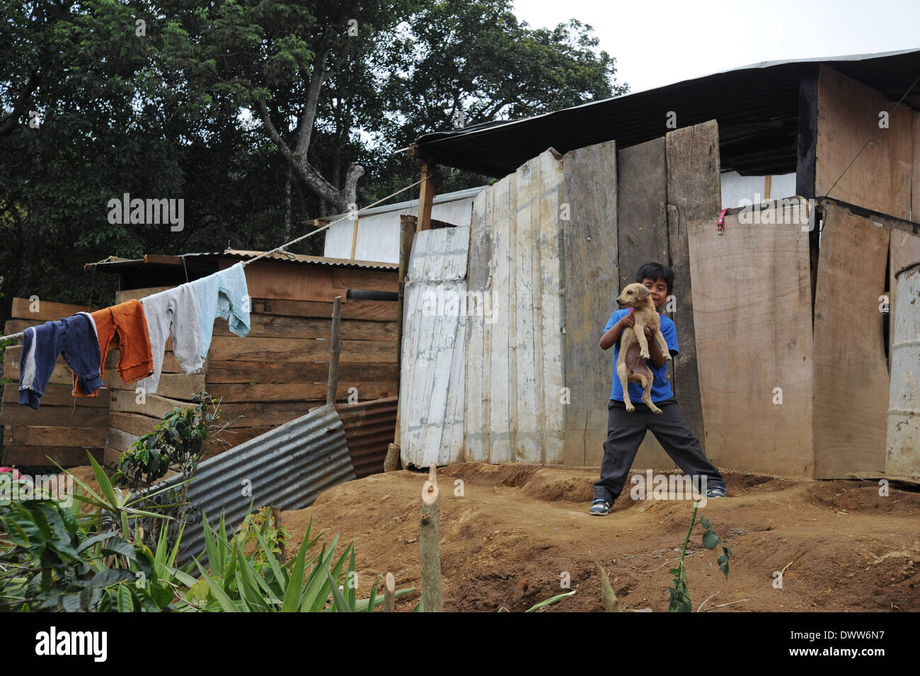 Maya indigenous boy in Aqua Escondida, Solola, Guatemala. - Stock Image