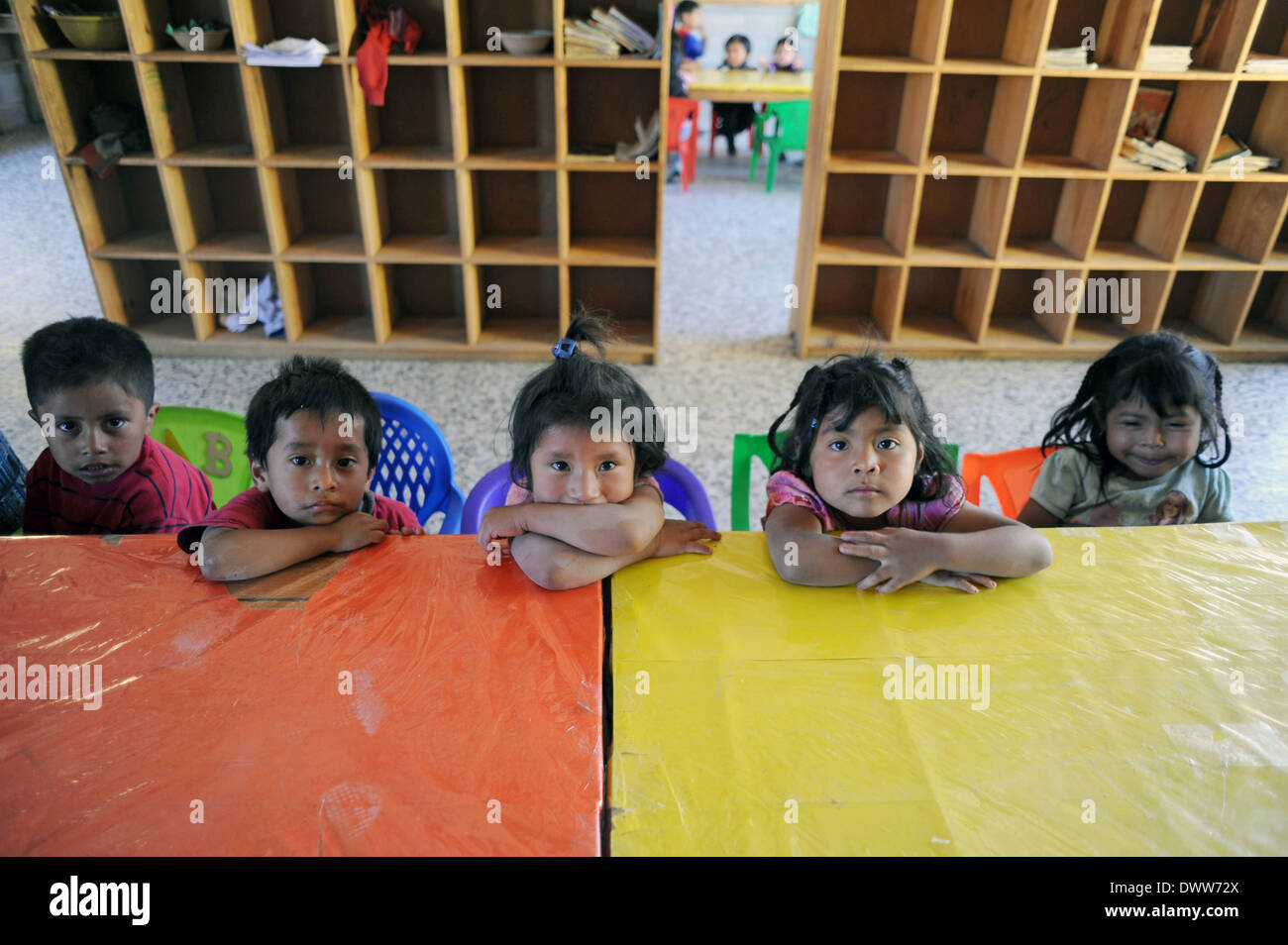 Mayan children at preschool in Chuk Muk, Solola, Guatemala. - Stock Image